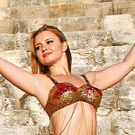 belly dance red with gold bra top