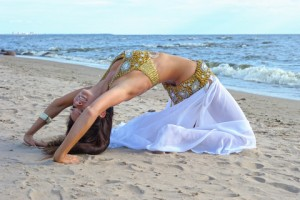 Belly dancing on the beach